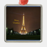 Felices Navidad - torre Eiffel en la noche Ornamentos De Navidad