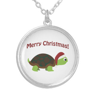 ¡Felices Navidad! Tortuga de Santa Collar Plateado