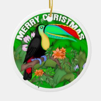 Felices Navidad Toucan Adorno Navideño Redondo De Cerámica