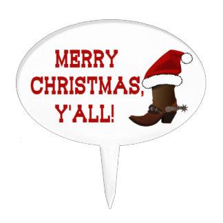 Felices Navidad usted - bota de Santa (parte Figura De Tarta