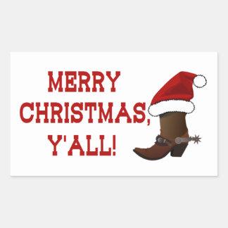Felices Navidad usted - bota de Santa (parte Pegatina Rectangular