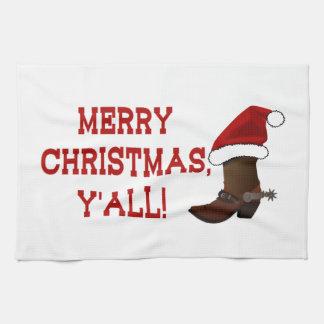 Felices Navidad usted - bota de Santa (parte Toallas De Mano