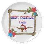 Felices Navidad usted - guirnalda w/Longhorn de la Plato De Cena