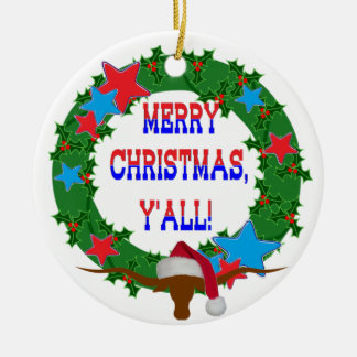 Felices Navidad usted - guirnalda w/Longhorn del a Ornamento Para Reyes Magos