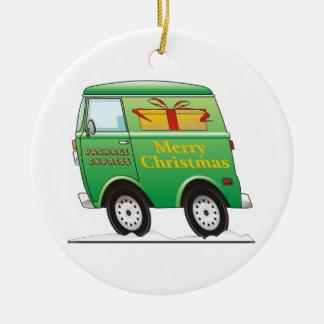 Felices Navidad Van Green Adorno Redondo De Cerámica