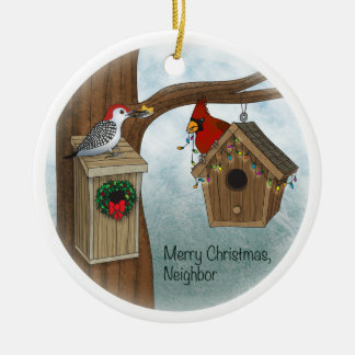 Felices Navidad vecinas Adorno Navideño Redondo De Cerámica