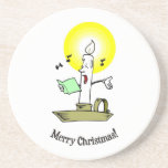 Felices Navidad, vela ardiente que canta un villan Posavasos Diseño