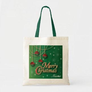 Felices Navidad verdes claras Bolsa Tela Barata