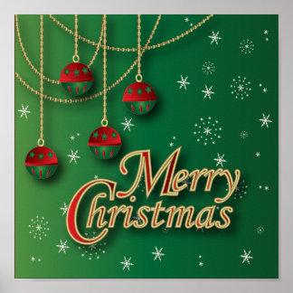 Felices Navidad verdes claras Póster