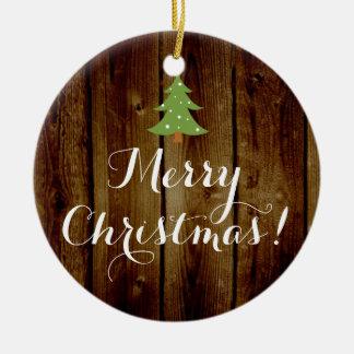 Felices Navidad verdes de madera de Brown del Adorno Navideño Redondo De Cerámica