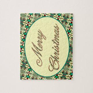 Felices Navidad verdes elegantes Puzzle