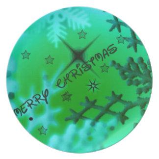 Felices Navidad verdes Plato