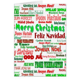 Felices Navidad verdes rojas de la diversión en Tarjeta De Felicitación