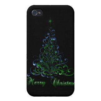 Felices Navidad verdes y azules iPhone 4 Carcasa