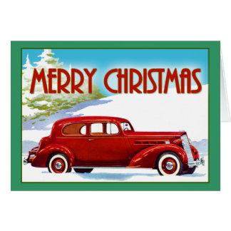 Felices Navidad - vintage Packard 1938 Tarjeton
