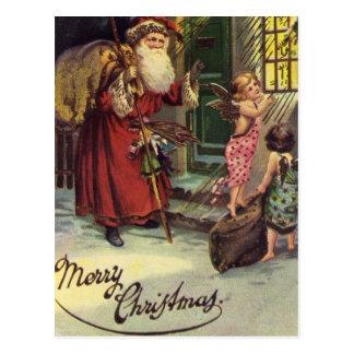 Felices Navidad, vintage, Santa con ángeles Tarjetas Postales