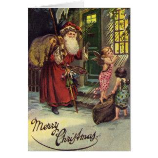 Felices Navidad, vintage, Santa y ángeles Tarjeta De Felicitación