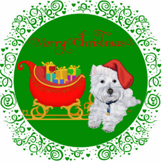 Felices Navidad Westie con el trineo Fotoescultura Vertical