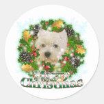 Felices Navidad Westie Pegatinas Redondas