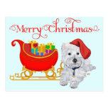Felices Navidad Westie Postales