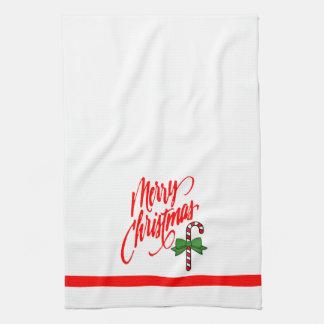 Felices Navidad y bastón de caramelo Toallas De Mano