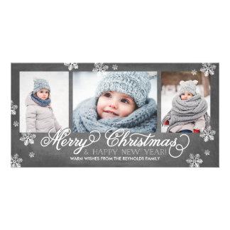 Felices Navidad y copos de nieve de la Feliz Año Tarjetas Fotográficas Personalizadas