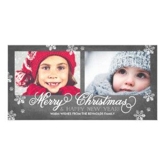 Felices Navidad y copos de nieve de la Feliz Año Tarjetas Personales Con Fotos