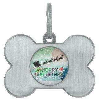 Felices Navidad y etiqueta del mascota de la Feliz Placas Mascota