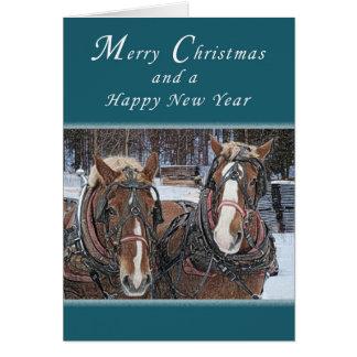 Felices Navidad y Feliz Año Nuevo, caballos de Tarjeta Pequeña