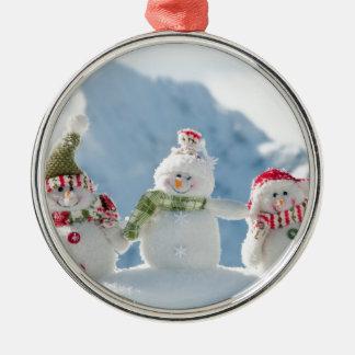 Felices Navidad y muñecos de nieve de la Feliz Año Adorno Navideño Redondo De Metal