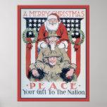 Felices Navidad y paz del vintage Impresiones