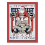 Felices Navidad y paz del vintage Tarjeta Postal