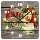 Felices Navidad y Santa del vintage en la madera Reloj Cuadrado