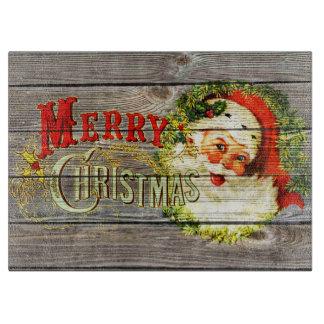 Felices Navidad y Santa del vintage en la madera Tablas Para Cortar