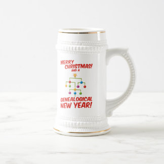 ¡Felices Navidad y un Año Nuevo genealógico! Jarra De Cerveza