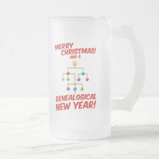 ¡Felices Navidad y un Año Nuevo genealógico! Taza De Cristal