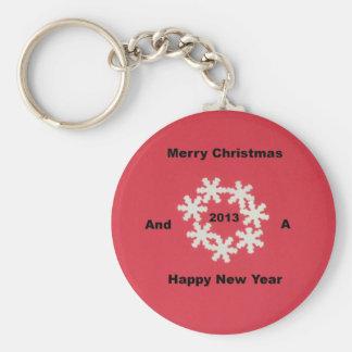 Felices Navidad y una Feliz Año Nuevo 2013 Llavero Redondo Tipo Pin