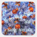 ¡Felices Navidad y una Feliz Año Nuevo! Pegatina Cuadrada