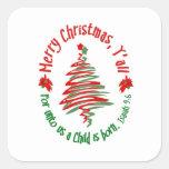Felices Navidad Yall 2 Calcomanías Cuadradass Personalizadas
