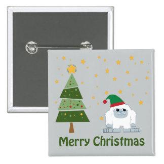 Felices Navidad Yeti Pin Cuadrado