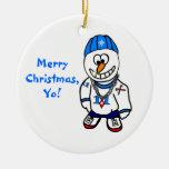 ¡Felices Navidad, Yo! Muñeco de nieve del Adorno Navideño Redondo De Cerámica