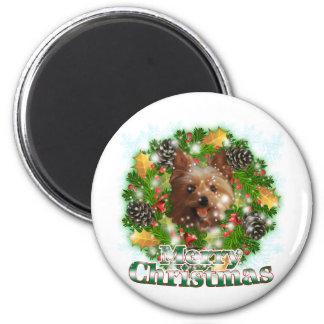 Felices Navidad Yorkie Imán Redondo 5 Cm