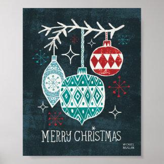 Felices ornamentos de Christmastime Póster