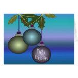 Felices ornamentos del árbol de navidad tarjeta de felicitación