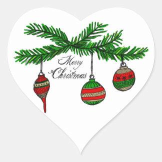 Felices ornamentos pegatina en forma de corazón