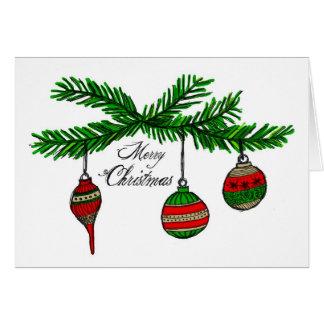 Felices ornamentos tarjeta de felicitación