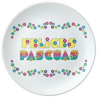 Felices Pascuas con Flores de Margarita Porcelain Plates