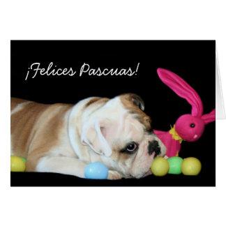 ¡¡Felices Pascuas!  tarjeta de bulldog Ingles