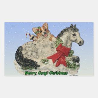 Felices pegatinas del navidad del Corgi y del Pegatina Rectangular