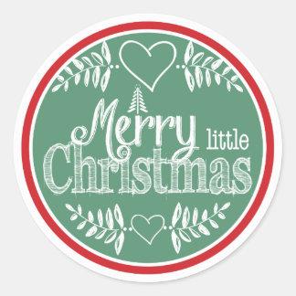 Felices pequeños Navidad rojos y verdes Pegatina Redonda